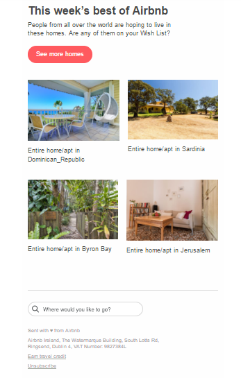Example of Segmented Marketing Email - air bnb