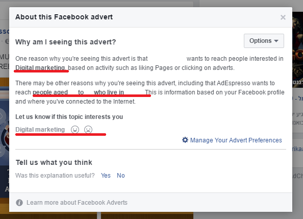 FB ads targets