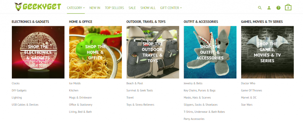 eCommerce product categories