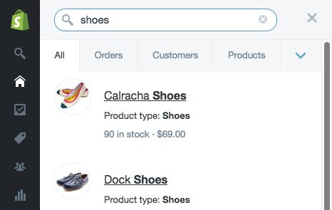 Shopify admin search