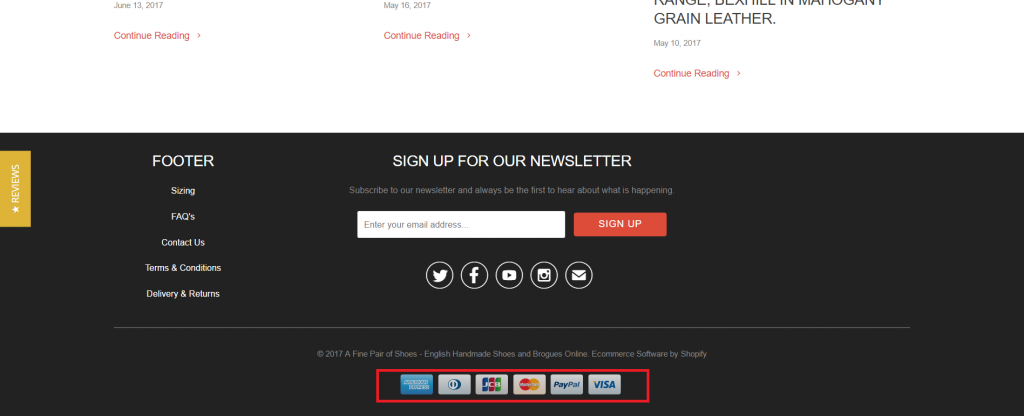 Example of eCommerce footer trust badges
