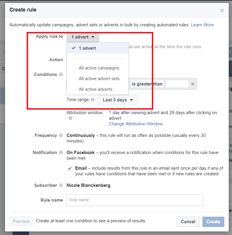 how to set up Facebook ad condition rules