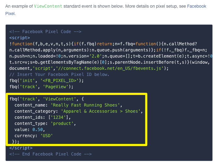 Facebook pixel codes for dynamic product ads