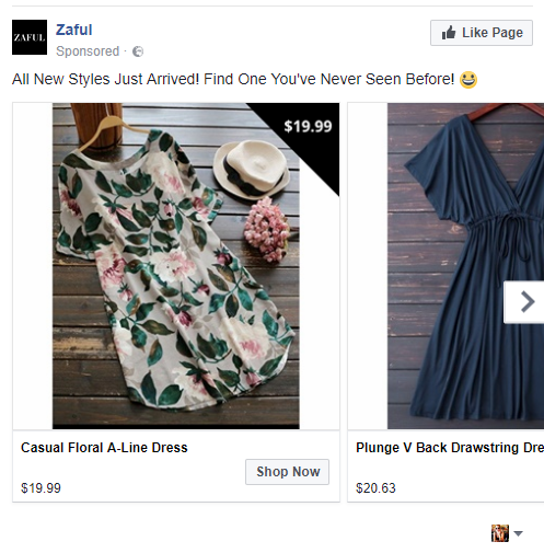 example of ecommerce store using facebook dynamic product ads