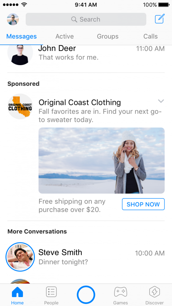 example of facebook messenger ads