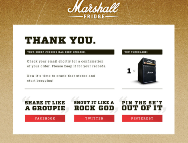 example of ecommerce thank you page
