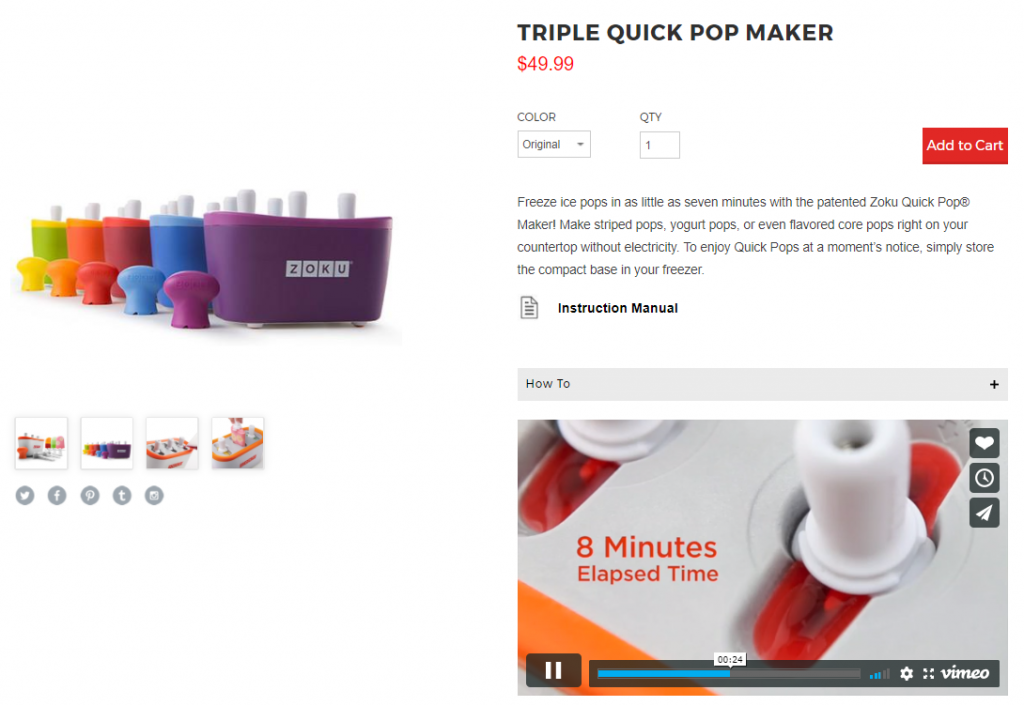example of using video in product pages
