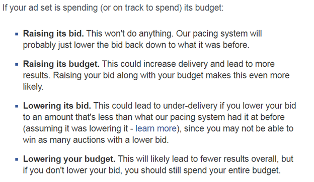 adjusting budgets on facebook