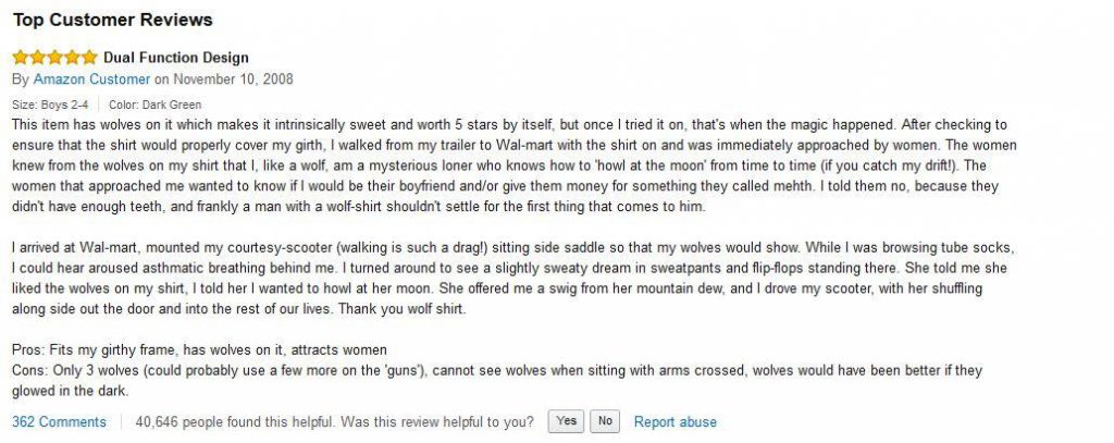 example of good product reviews on Amazon