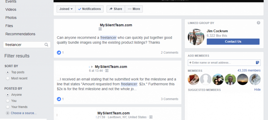 finding freelancers in Facebook groups