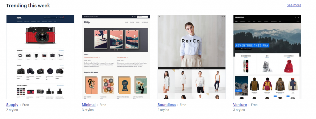 trending free shopify themes
