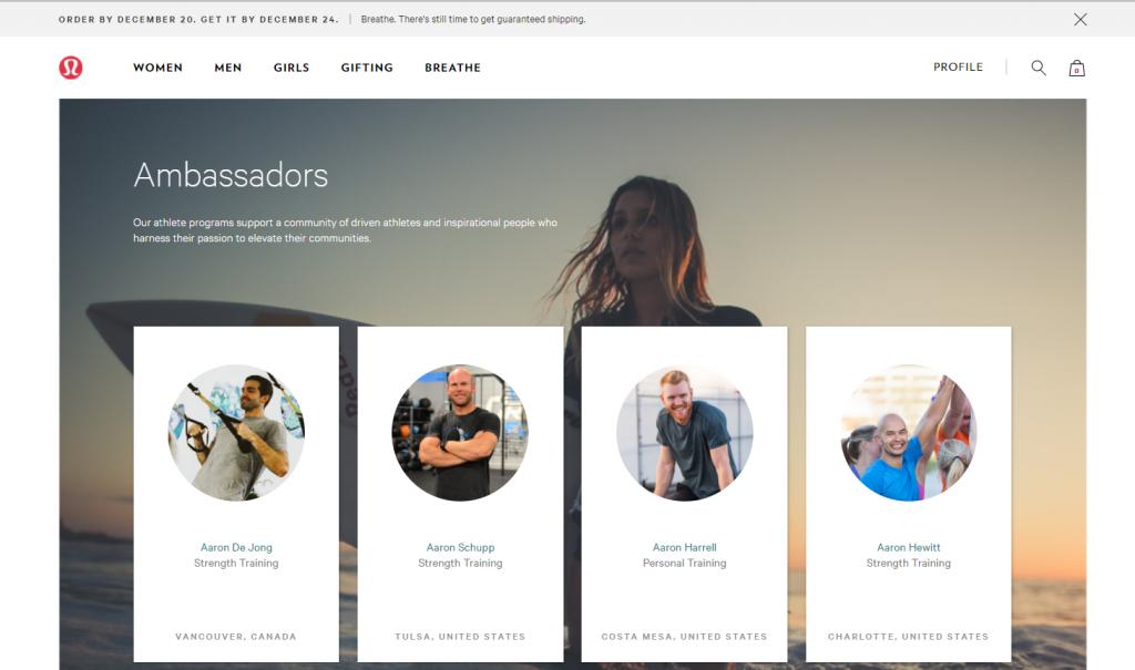 example of eCommerce brand ambassadors