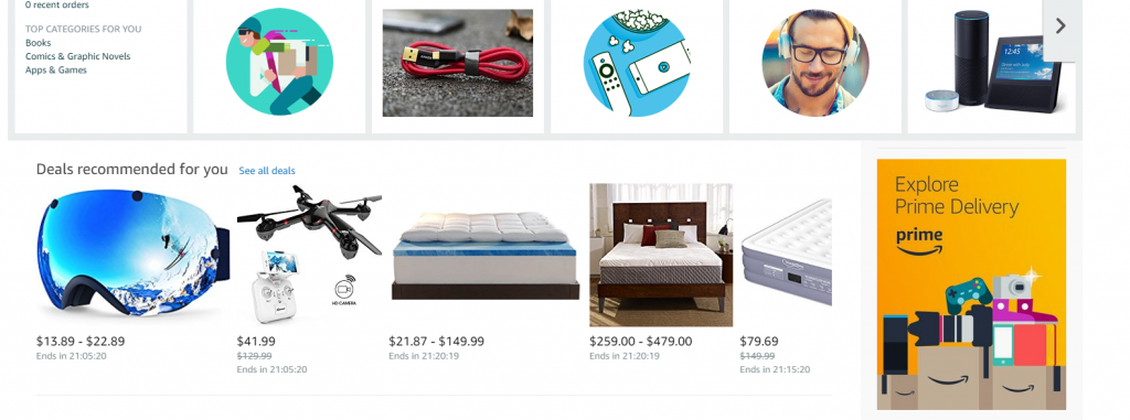 example of eCommerce category recommendations