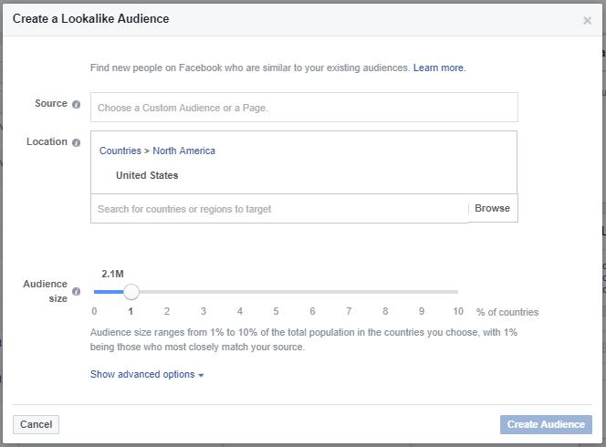 how to create Facebook custom audeince lookalike's