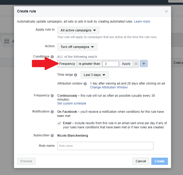 setting facebook ad frequency