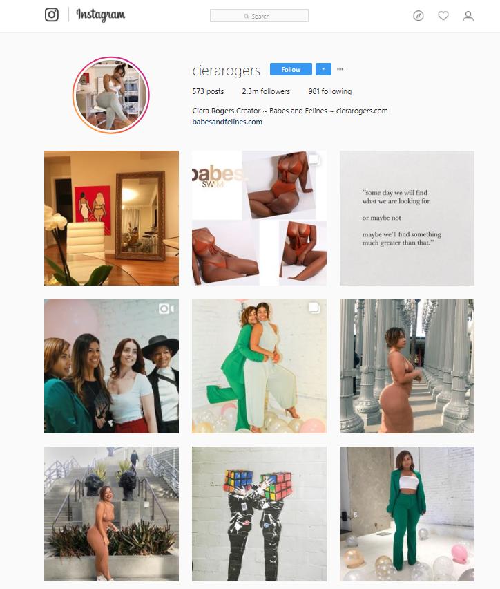 Ciera Rogers Instagram account
