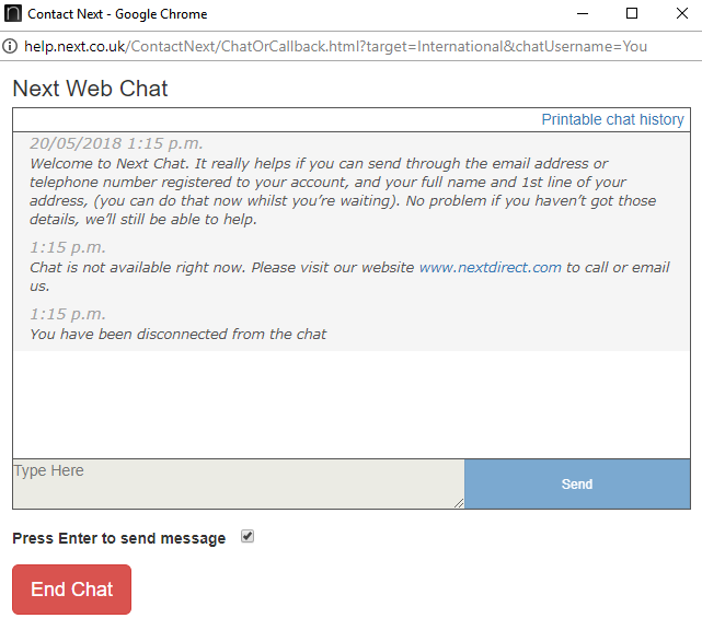 example of online chat for eCommerce