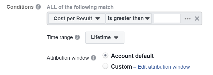 how to set conditions for Facebook automation rules