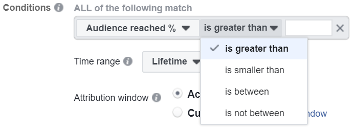 conditions for Facebook automation rules