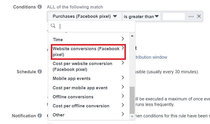 scaling facebook automatic conditions 1