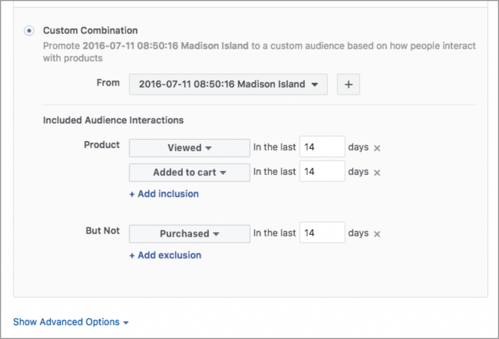 Facebook's Custom Combination options