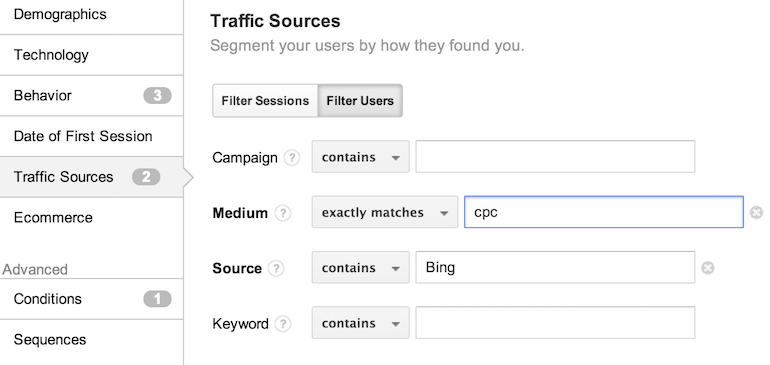creating remarketing lists using traffic conditions