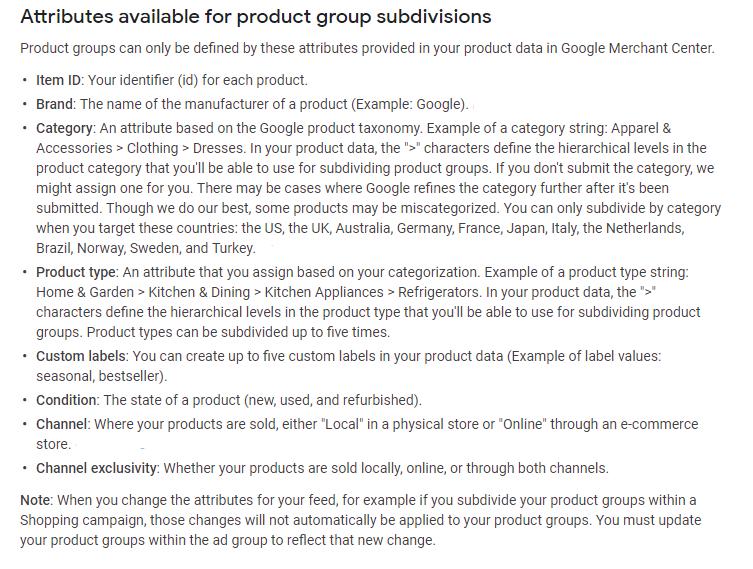 google shopping product groups