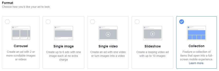 how to select collection ads for facebook campaigns