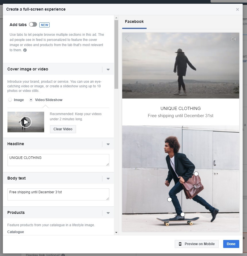 Template example for Facebook collection ad