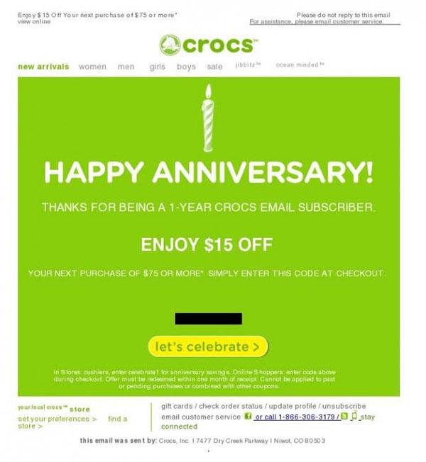reward email example - crocs
