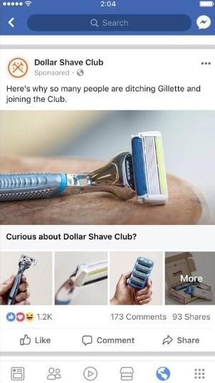 example of good facebook collection ad from dollar shave club