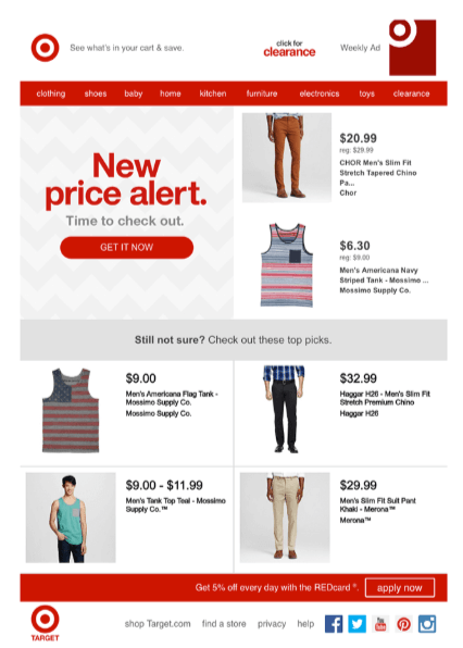 target's upsell email