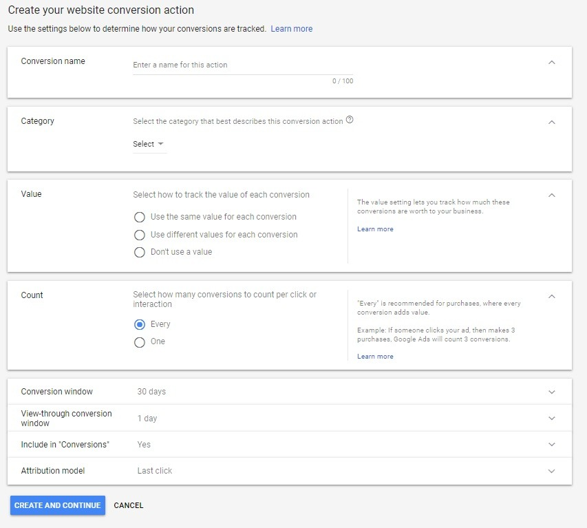 Inputting your conversion action guidelines to create your tag