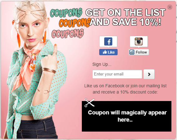 example of email collection pop for ecommerce