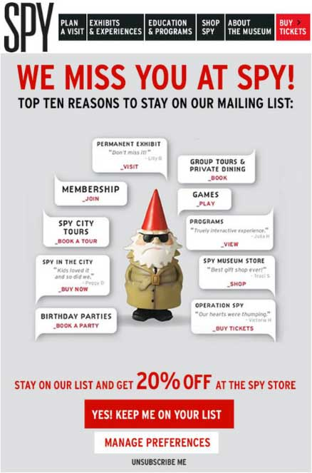 good example of winback emailer for online stores