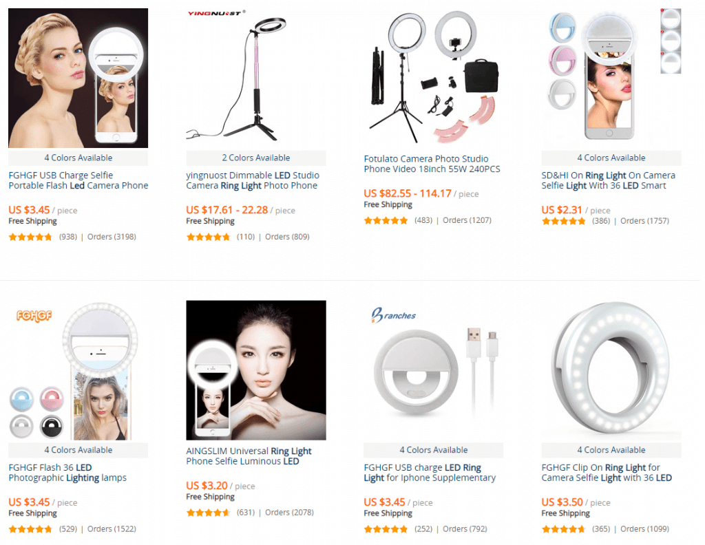 AliExpress top LED ring light listings