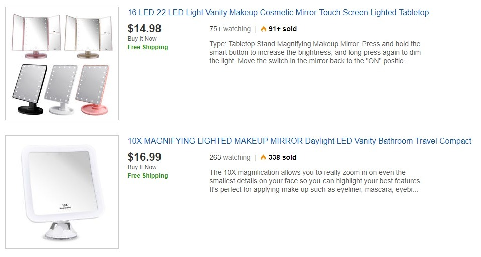 top led hand mirrors on ebay
