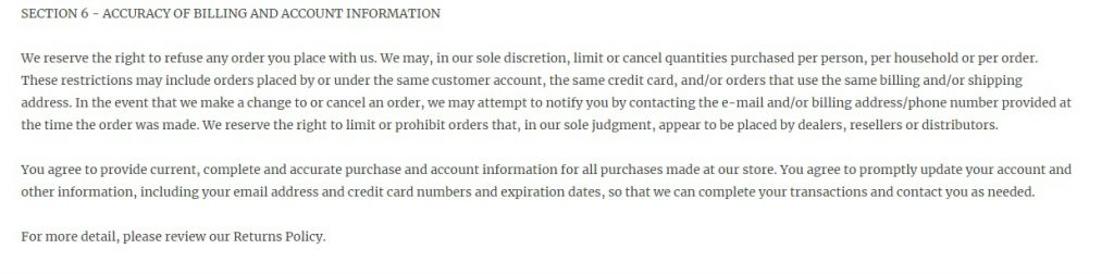 Shopify Terms and conditions template for accuracy of billing