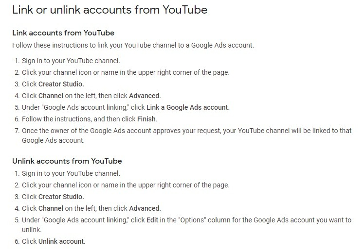 how to link YouTube with Google Ad s