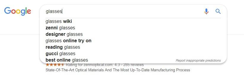 googles suggest for keywords