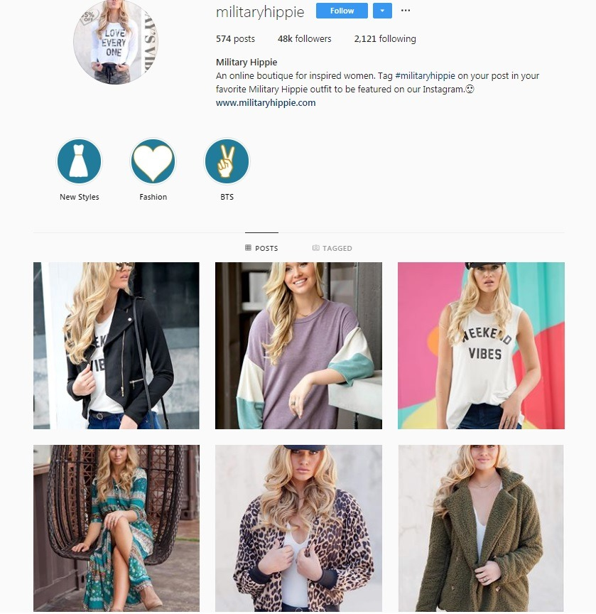 example of good eCommerce Insta account