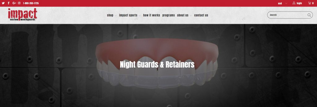 online store selling retainers and mouth guards