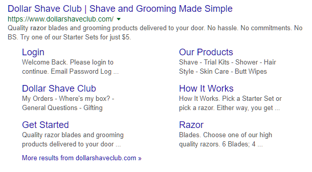 search listing with site links