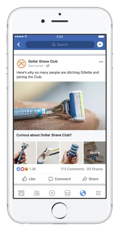 Dollar Shave Club canvas ads example for Facebook