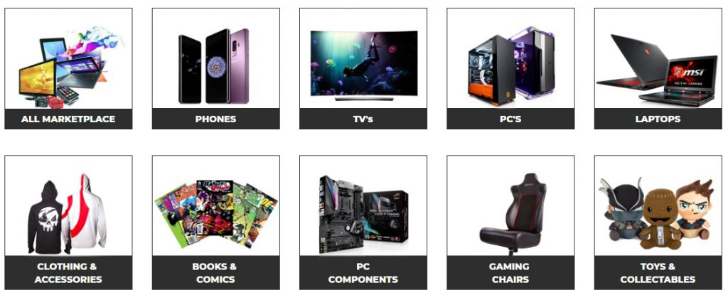game marketplace categories