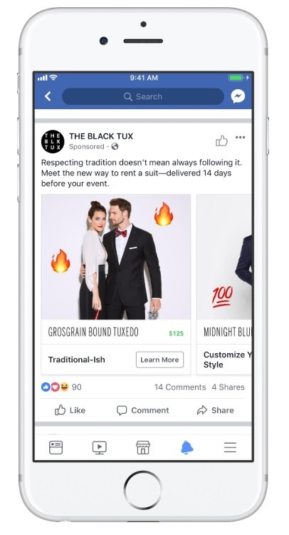 good example of collection ads black tux