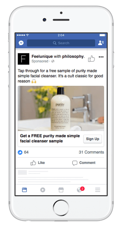 lead ad example on facebook