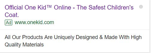 example of ecommerce search ad