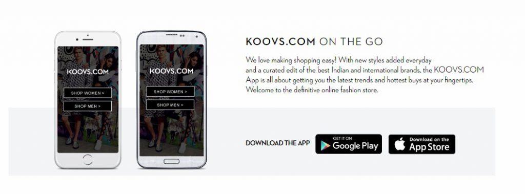 Koovs app for shopping