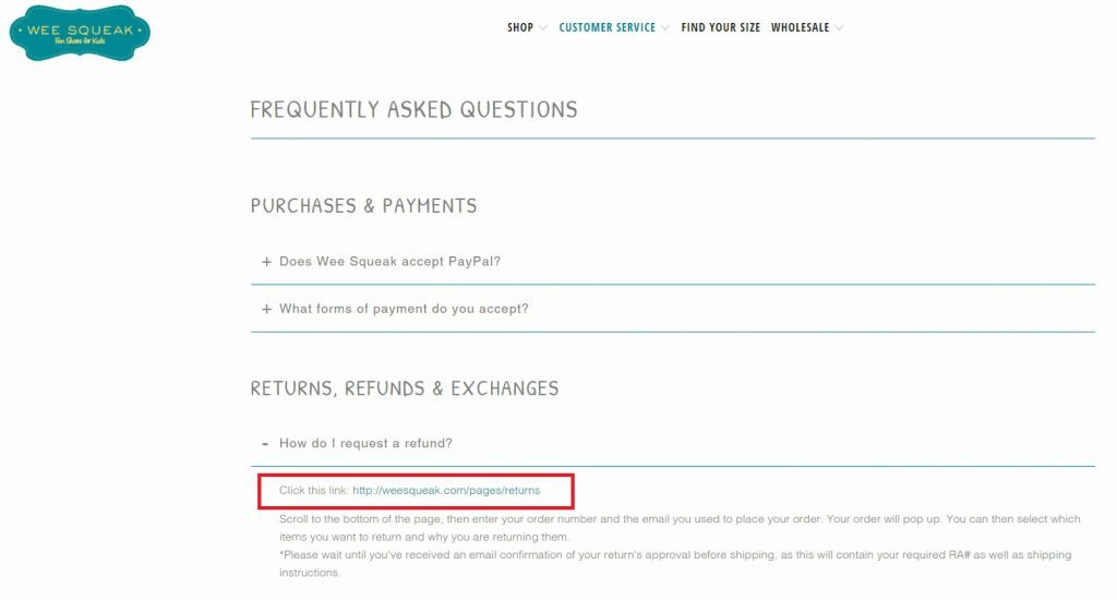 FAQ for eCommerce store
